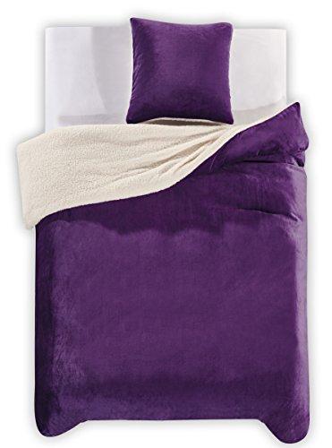 DecoKing 96161 Winter Bettwäsche 135x200 cm violett mit 1 Kissenbezug 80x80 2tlg Lammfelloptik Sherpa Bettwäscheset flauschig Bettbezüge Microfaser mollig weich kuschelig Purpur Teddy