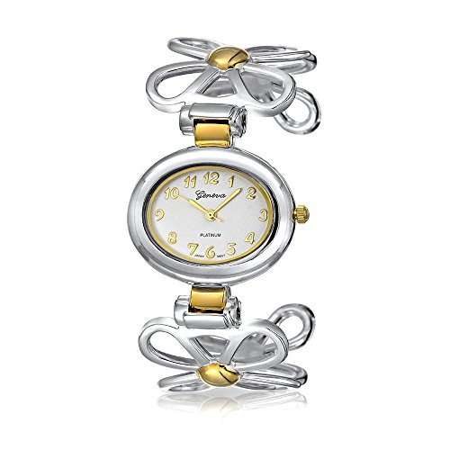 Two Tone Open Daisy Flower Band White Oval Dial Cuff Wrist Watch for Women Gold Plated Silver Tone Metal Analog Quartz