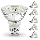 tronisky Bombillas LED GU10, 4W Equivalente 50W Halógena, 6000K Blanca, 450 Lúmenes, 120° Angulo de Haz, AC 220-240V, Ultra Brillante GU10 LED Spotlight, 6 Pack [Clase de eficiencia energética A+]