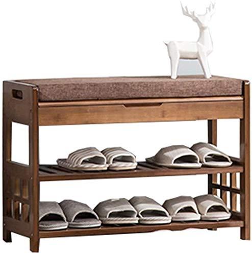Zapato de almacenamiento en rack asiento acolchado Banco de Almacenaje de zapatos de madera con 2 estantes y A Hidden armario for Armario Organizador Caja de almacenamiento Gabinete Armario soporte de