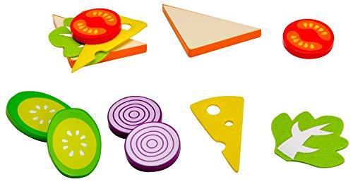 Idena 4100105 - Kleine Küchenmeister Sandwich Set aus Holz, für Spielküche und Kaufmannsladen, ab 3 Jahre, ca. 15 x 10 x 4 cm