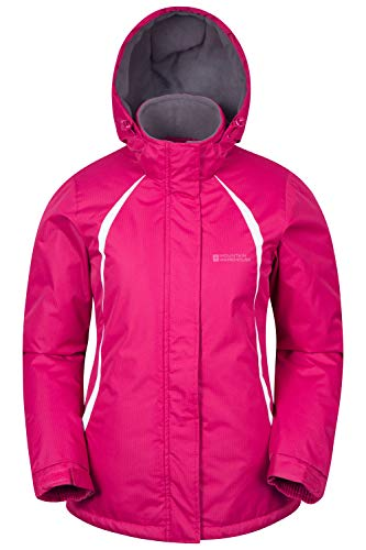 Mountain Warehouse Moon Damen-Skijacke - Schneedicht, Mikrofaser-Isolierung, Winddichte Winterjacke, warm, verstellbare Kapuze - Ski-Bekleidung für den Snowboard-Urlaub leuchtendes Pink 38