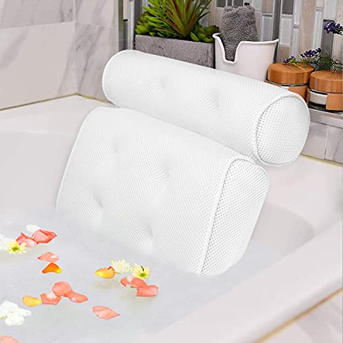 Idle Hippo Bath Pillow with 6 Suction Cups, Ergonomic Home Spa Bath Cushion for Headrest, Neck & Back Support for Jacuzzi & Hot