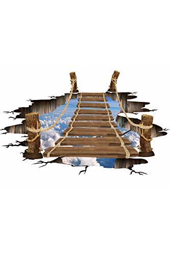 SMTD 3D Zugbrücke Boden Aufkleber Wandaufkleber Simulation Holzbrücke Wohnkultur Wandtattoos Umweltfreundliche Rutschfeste Wohnzimmer Schlafzimmer Dekorative Aufkleber