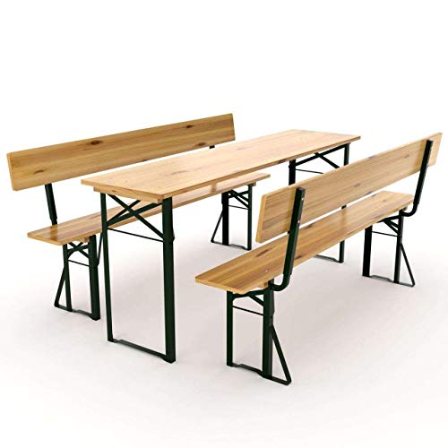 AVANTI TRENDSTORE - Luma - Set birreria per lesterno in Legno Massiccio Laccato, Ideale per Festeggiare nel Proprio Giardino. Dimensioni Tavolo: 180x76x60 cm, panchine: 180x46x25 cm (con Schienale)