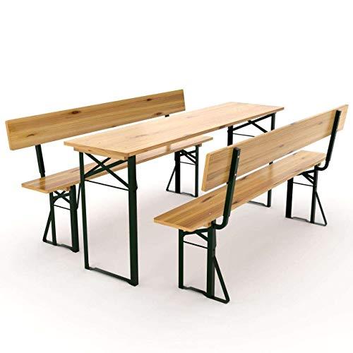 AVANTI TRENDSTORE - Luma - Set birreria per l'esterno in Legno Massiccio Laccato, Ideale per Festeggiare nel Proprio Giardino. Dimensioni Tavolo: 180x76x60 cm, panchine: 180x46x25 cm (con Schienale)