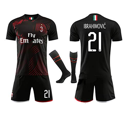 Kaka Nr. 22 Ibrahimović Nr. 21Custom Soccer Football Kinder Erwachsene Fußballuniform 2019-2020 Trikot, Fußballtrikot Kits T-Shirt Trikot + Shorts + Socken-21#-M