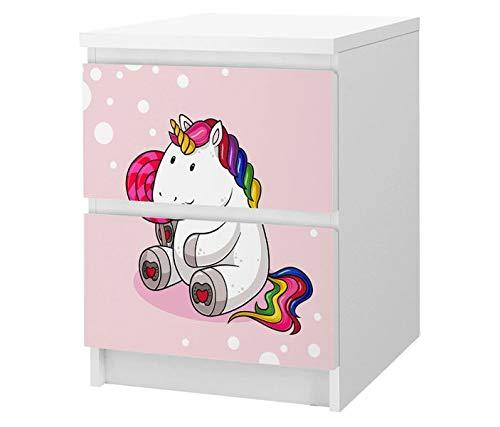 Set Möbelaufkleber für Ikea Kommode MALM 2 Fächer/Schubladen Einhorn Pony rosa Kinderzimmer Kat2 girls ML2 Aufkleber Möbelfolie sticker (Ohne Möbel) Folie 25F2515, MALM 2 Fächer:MALM 2 Fächer