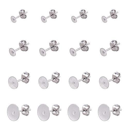 PandaHall 60pcs 3 Dimensioni perni dell'orecchino in Bianco 304 in Acciaio Inox Piatto Rotondo Bianco peg & Post Ear Studs Risultati con 60pcs orecchino Sicurezza schienali Frizione