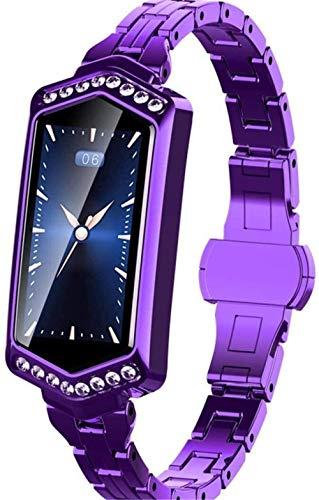 Rastreador de actividad física Reloj de calorías para mujer inteligente ritmo cardíaco Información Recordatorio GPS Pasos Deportes Calorías Reloj Púrpura Deporte Fitness Tracker Moda