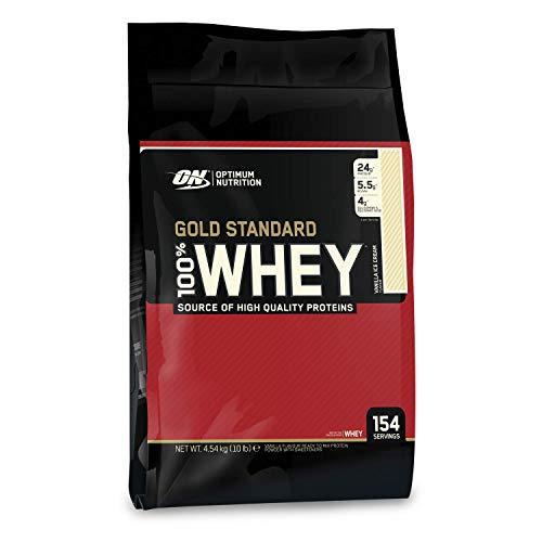 Optimum Nutrition ON Gold Standard Whey Protein Pulver, Eiweißpulver zum Muskelaufbau, natürlich enthaltene BCAA und Glutamin, Vanilla Ice Cream, 146 Portionen, 4,54kg, Verpackung kann Variieren