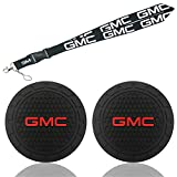 PINGPING 2Pcs 2.75Inch for GMC Logo Car Cup Holder Coasters & Lanyard with Detachable Buckle Key Strap,Silicone Anti Slip Cup Mat Lanyard Keychain Accessories