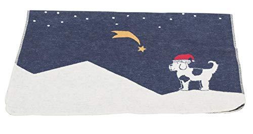 David Fussenegger - Haustierdecke - Weihnachtsstern/Hund - Baumwolle - Navy - 70/90