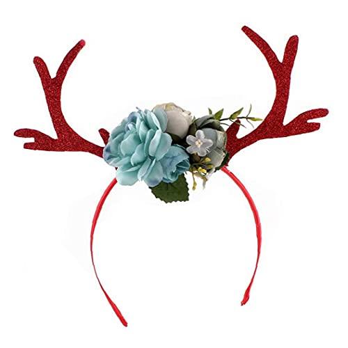 Weihnachten Kitz Horn Stirnband Deer Geweih Haarreifen mit Blumen DIY Holiday Party Accessoire (blau) Niedlich Urlaub Geschenk