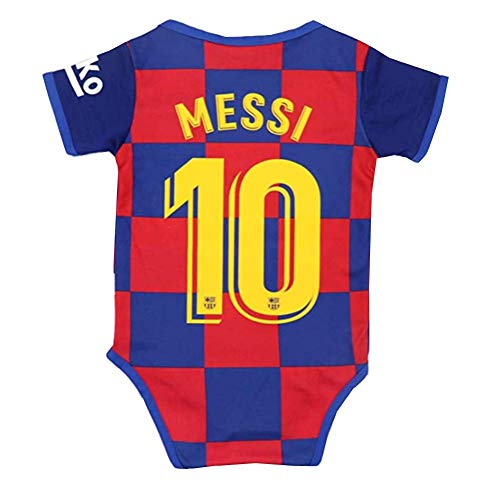 Barcelona Home #10 Messi Baby Cotton Soccer Bodysuits for 0-9 Months Infant OneSize Red