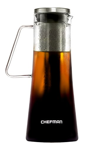 Chefman Brews Best Hot/Iced Coffee & Tea Laser Cut Filter/Tea Infuser Included, Airtight Dishwasher Safe Borosilicate Glass Carafe w/Stainless Steel Lid, 1L/34oz, Cold Coffee Maker