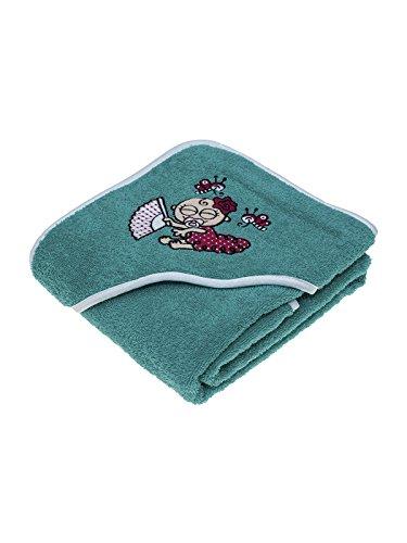 Toalla verde para niños y bebés de Kayuki Saguyaki 100% algodón y con capucha bordada