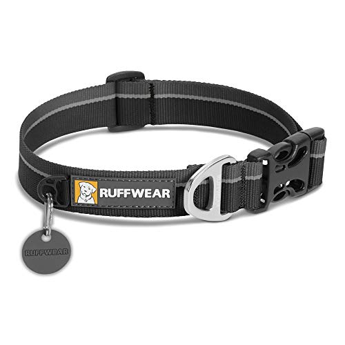 RUFFWEAR - Hoopie Dog Collar, Webbing Collar for Walking and Everyday Use, Obsidian Black, Large (2018)