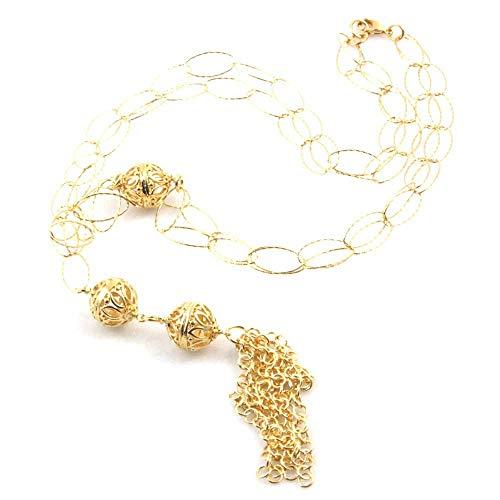 amorili Collar de Mujer de la Joya en Bronce Dorado, con Perlas de Largo 80 cm - cll1603