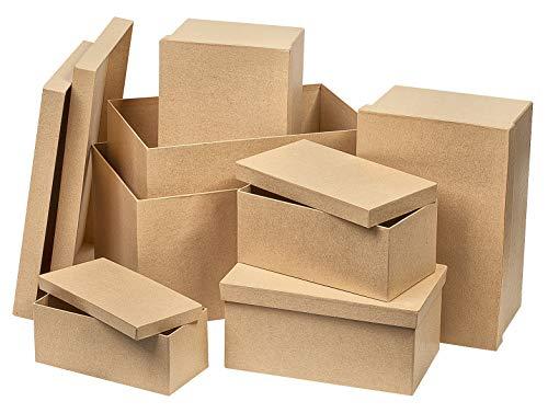 7er-Set Schachteln, Pappschachteln, Boxen, rechteckig, aus Karton, von VBS