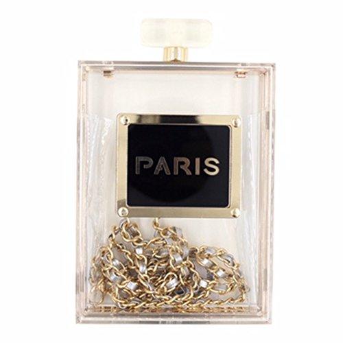Weddinghelper Women Acrylic Transparent Paris Perfume Shape Evening Bags Purses Clutch Vintage Banquet Handbag (transparent)