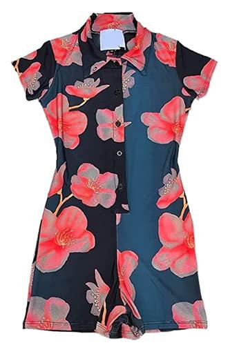 FASBB Y2K - Mono de punto de manga corta para mujer con cuello en V y botón de una sola pieza, pijama de verano sexy, mono en general (B-Púrpura, L)