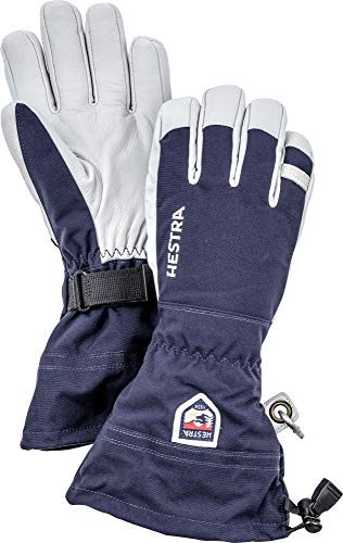 Hestra Army Leather Heli Ski Glove - Classic 5-Finger Snow Glove for Skiing and Mountaineering - Navy - 9