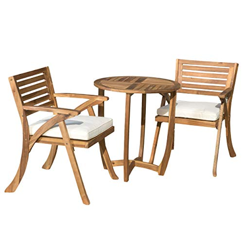 Christopher Knight Home Coronado Acacia Wood Bistro Set, 3-Pcs Set, Teak Finish