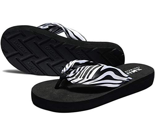 Damen Sommer Sandalen Zehentrenner Flip-Flops T-Spangen Slippers Pantoffeln Böhmisch Satin Anti-Rutsch Strand Frauen Hausschuhe für Outdoor Strand Urlaub Schwimm,Zebra,37 EU