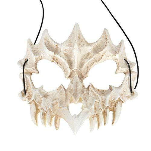 WINBST Schädel Motorrad Skelett Halbe Gesichtsmaske Maske für Karneval Fasching Kostüm Halloween Maske Skelett kinnlos