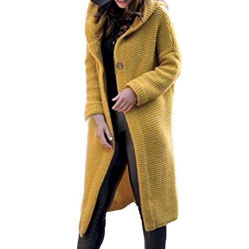 Battnot-Damen Strickjacke mit Kapuze Lange Warm Solide Grün Herbst Winter Elegant Freizeit Strickpullover Mantel, Frauen Oberseiten Langarm Tops Bluse Pulli Hemd Womens Sweater Cardigan S-XXXL 3XL