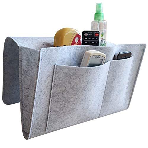 BESLIME - Bolsillo de almacenamiento para mesita de noche, bolsillo de fieltro, bolsa organizadora para colgar con velcro, revista, teléfono, sofá, litera, fieltro gris