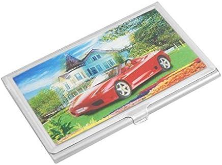 DealMux Metall 3D-Haus-Rot-Auto-Druck-Gesch�fts-Kredit ID Name Card Case : B�robedarf & Schreibwaren