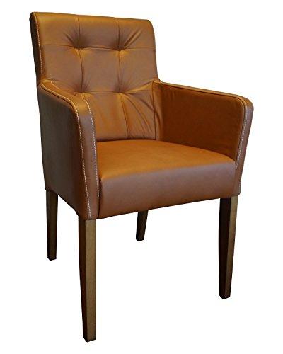Quattro Meble Cognac Farbe Echtleder Stühle David Arm Pik Lederstühle mit Armlehnen Echt Leder Venice Cognac Esszimmer Stuhl Sessel