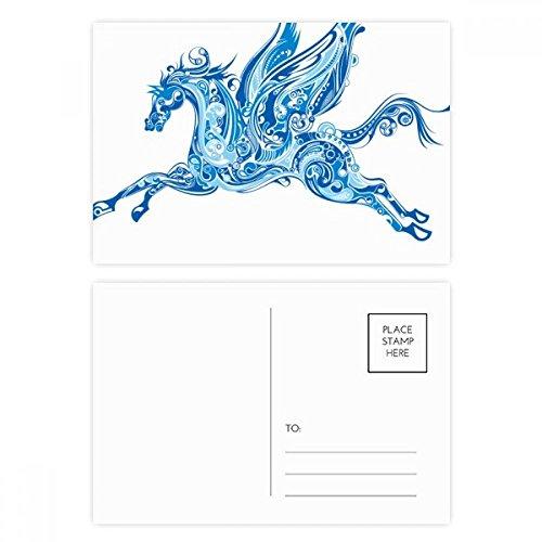 DIYthinker Blaues Pferd Flügel-Tier-Kunst-Korn-Postkartenset Geburtstag dankt Karte Mailing Side 20pcs 5.7 Zoll x 3.8 Zoll Mehrfarbig
