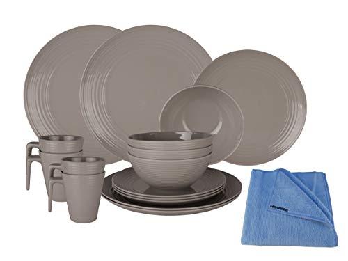 HEKERS Vajilla de 100% melamina Seramika Latte/Gris – Juego de 16 piezas para 4 personas / 1 x paño de microfibra Hekers azul exterior, picnic, camping, apto para lavavajillas
