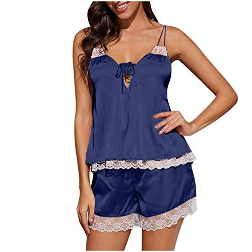 SOMESUN Damen Schlafanzug Sexy Spitzen Satin Nachtwäsche Sommer Kurz Pyjama Set Nachthemd Negligee Tiefer V-Ausschnitt Dessous Negligee Babydoll Lingerie mit Shorts