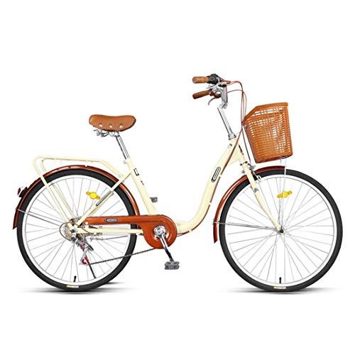 City Bike 24 Zoll 6-Gang Fahrrad Leichtgewicht Für Erwachsene Mountainbike,Beige