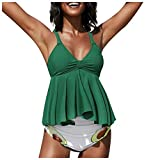Vuncio Traje de baño premamá para mujeres embarazadas con estampado de flores, para embarazadas, maternidad, tallas grandes verde M
