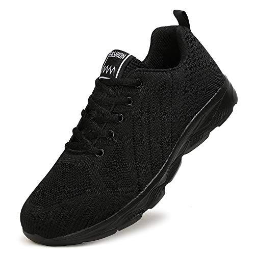 ZPAWDH Homme Femme Sneakers Outdoor Running Sports Fitness Marche Chaussures(39EU,All Black)