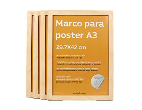 Nacnic Set de 4 Marcos Madera Clara tamaño A3 (29.7x42cm). Marco de Color Light Wood