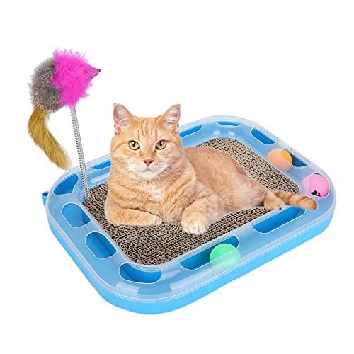 Aoca Rascador para Gatos con Bolas, Base Antideslizante, Pista Circular Resistente al desgarro, rascador Fuerte para Gatos, Pista de Rodillos para Pelotas de Juguete para Mascotas para Jugar
