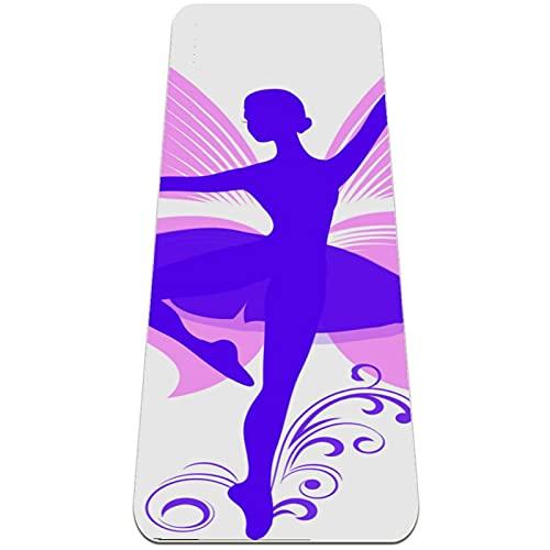 Esterilla Yoga Mat Antideslizante Profesional - Chica de la bailarina de dibujos animados con alas de la mariposa - Colchoneta Gruesa para Deportes - Gimnasia Pilates Fitness - Ecológica