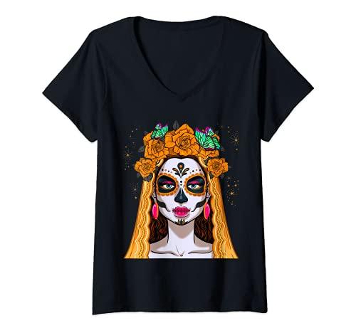 Mujer Dia De Los Muertos Esqueleto Crneo Mujeres Mexicanas Corona Chica Camiseta Cuello V