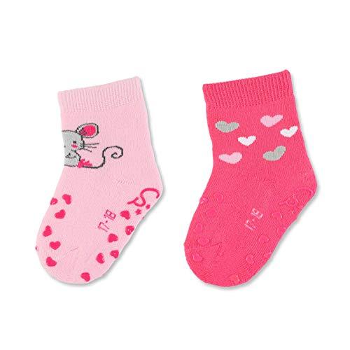 Sterntaler Mädchen ABS-Krabbelsöckchen, Maus-Motive, Doppelpack, Alter: 6-12 Monate, Größe: 17/18, Rosa/Pink