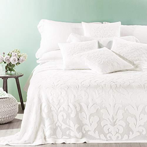 Caleffi Tagesdecke für Doppelbett, aus reiner Baumwolle, Linie Prima Natur 160 x 190 cm Bianco