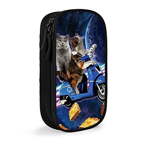 Trousse à crayons pour chat, équitation, scooter, voyage avec espace Lazer Galaxy - Fermeture éclair - Durable - Portable - Pour l'école, le bureau, les adolescents, les garçons et les filles