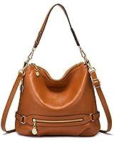 Genuine Leather Handbags for Women Large Designer Ladies Shoulder Bag Bucket Style [Brown ]