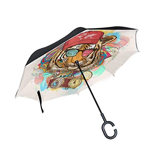 Wamika Tiger Hipster Capuchon de Parapluie inversé Double Couche Coupe-Vent Protection UV Auto-Debout Non Auto Grand Parapluie Droit à l'envers en Bas poignée en Forme de C pour la Pluie de Voiture