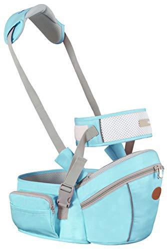 Portador De Bebé Multifuncional Hipseat, Tamaño Libre, Portador De Asiento De Cadera para Niños Pequeños, Cinturón del Portador Delantero, (Rojo),Sky Blue